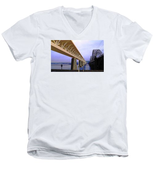 Darnitsky Bridge Men's V-Neck T-Shirt by Oleg Zavarzin