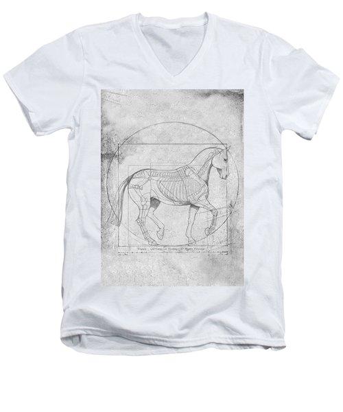 Da Vinci Horse Piaffe Grayscale Men's V-Neck T-Shirt