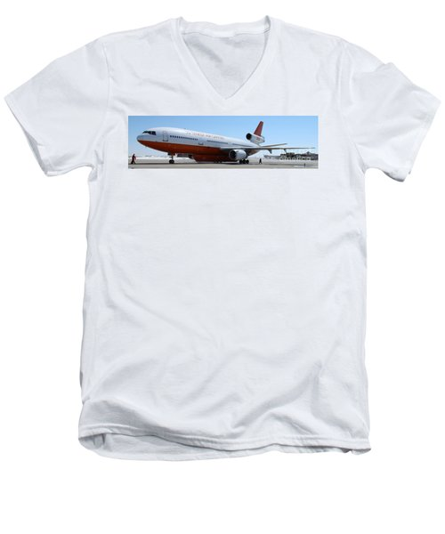Men's V-Neck T-Shirt featuring the photograph Dc-10 Air Tanker At Rapid City by Bill Gabbert