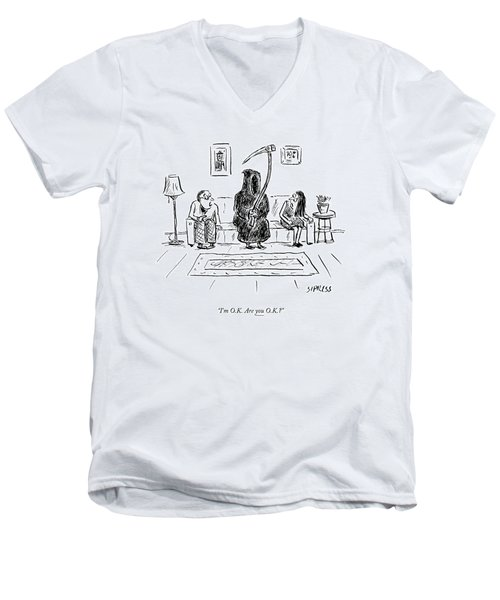 Death Sits On The Couch Between A Husband Men's V-Neck T-Shirt