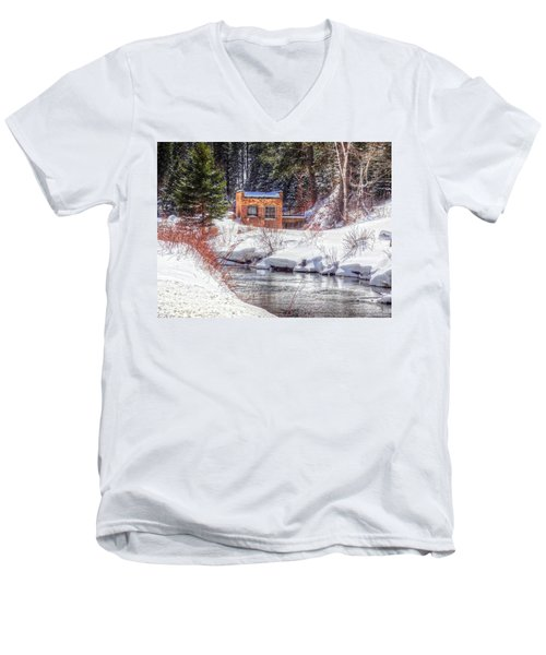 Deep Snow In Spearfish Canyon Men's V-Neck T-Shirt by Lanita Williams