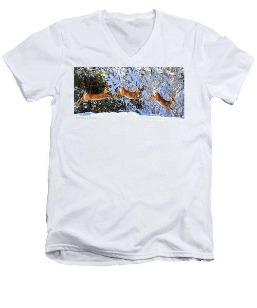 Deer Jump Men's V-Neck T-Shirt