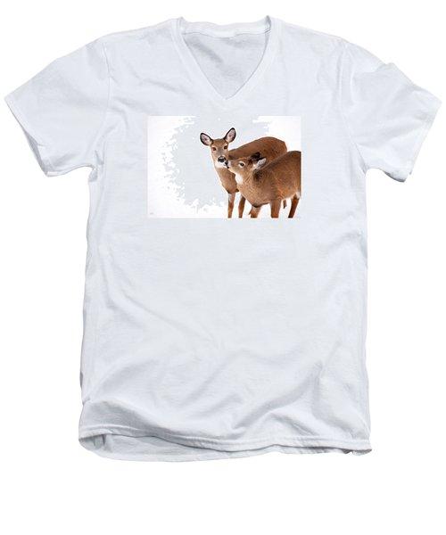 Deer Kisses Men's V-Neck T-Shirt by Karol Livote