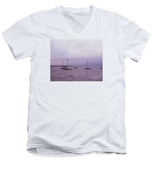 Delaware Harbor Men's V-Neck T-Shirt by David Jackson