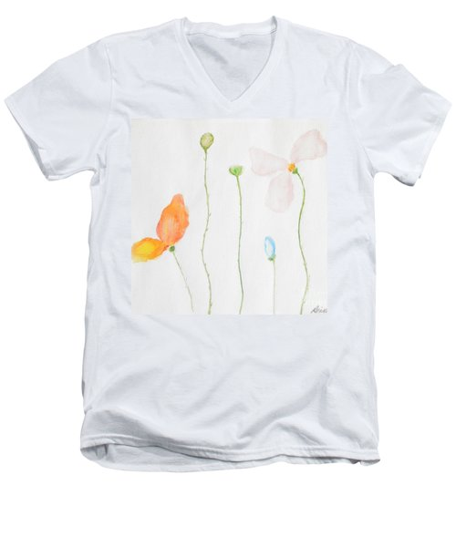 Men's V-Neck T-Shirt featuring the painting Delicate  by Reina Resto