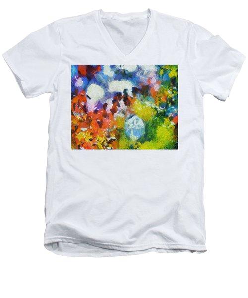 Men's V-Neck T-Shirt featuring the digital art Delightful Surprise by Joe Misrasi
