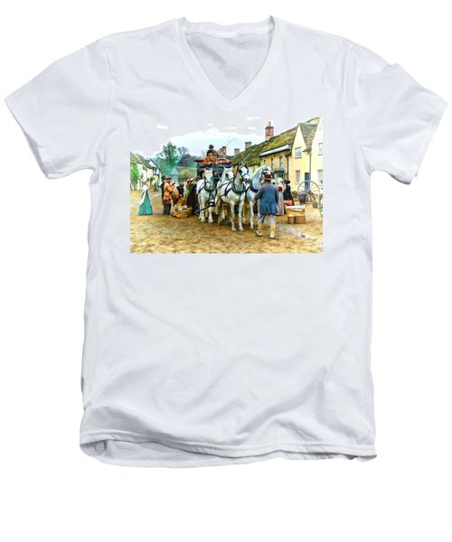 Men's V-Neck T-Shirt featuring the photograph Departing Cranford by Paul Gulliver