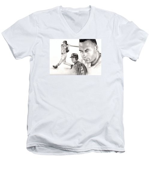 Derek Jeter Men's V-Neck T-Shirt by Kathleen Kelly Thompson