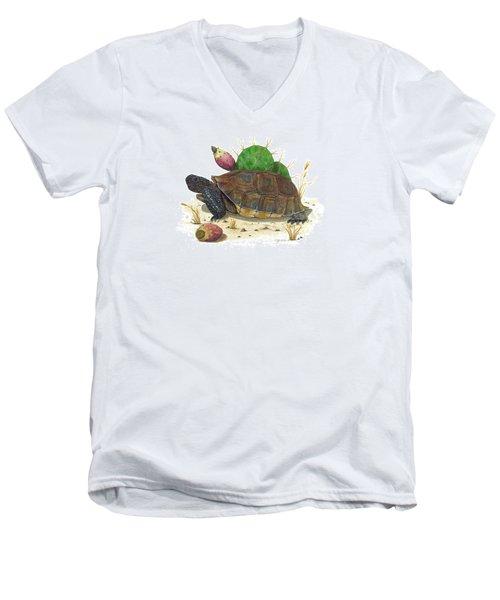 Desert Tortoise Men's V-Neck T-Shirt by Cindy Hitchcock