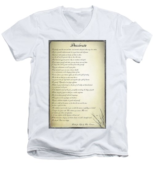 Men's V-Neck T-Shirt featuring the digital art Desiderata 2 by Teresa Zieba