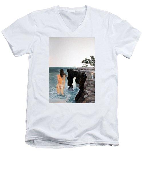 Destinos Men's V-Neck T-Shirt by Lazaro Hurtado