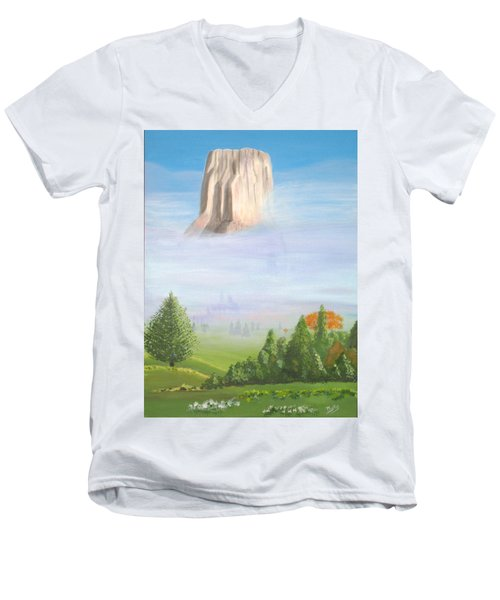 Men's V-Neck T-Shirt featuring the painting Devil's Tower  by Phyllis Kaltenbach