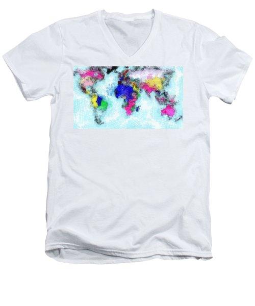 Digital Art Map Of The World Men's V-Neck T-Shirt