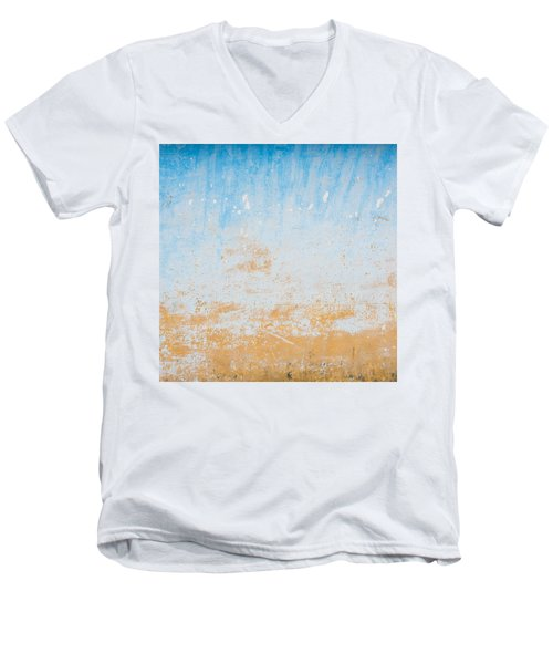 Dilapidated Beige And Blue Wall Texture Men's V-Neck T-Shirt
