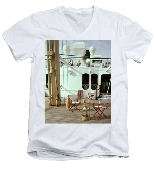Directors Chairs In Front Of The Ship The Queen Men's V-Neck T-Shirt