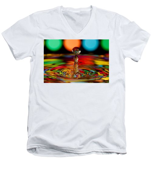 Disco Ball Drop Men's V-Neck T-Shirt by Anthony Sacco