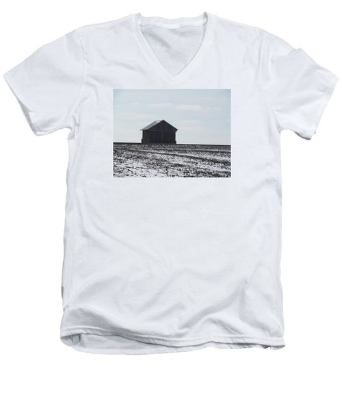Men's V-Neck T-Shirt featuring the photograph Distant Local Train Depot by Tina M Wenger