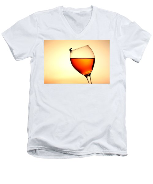 Diving In Red Wine Little People On Food Men's V-Neck T-Shirt