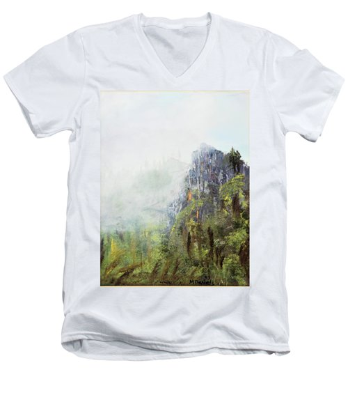 Men's V-Neck T-Shirt featuring the painting Dixville Notch Nh by Michael Daniels
