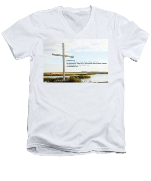 Belin Church Cross At Murrells Inlet With Bible Verse Men's V-Neck T-Shirt