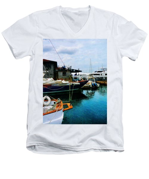 Men's V-Neck T-Shirt featuring the photograph Docked Boats In Newport Ri by Susan Savad
