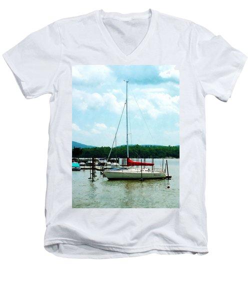 Docked On The Hudson River Men's V-Neck T-Shirt by Susan Savad