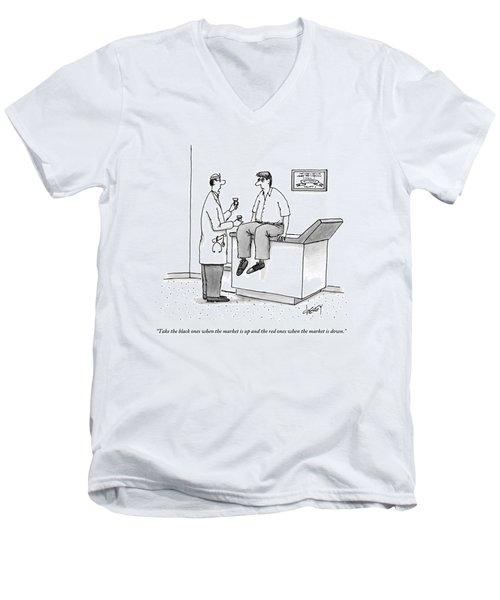 Doctor Speaks To Frazzled Patient In Doctor's Men's V-Neck T-Shirt