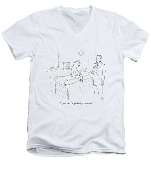 Doctor To Pig Men's V-Neck T-Shirt by Paul Noth