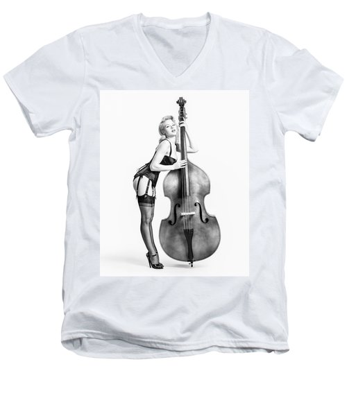 Men's V-Neck T-Shirt featuring the photograph Doghouse With Mosh - String Bass Baby   by Gary Heller