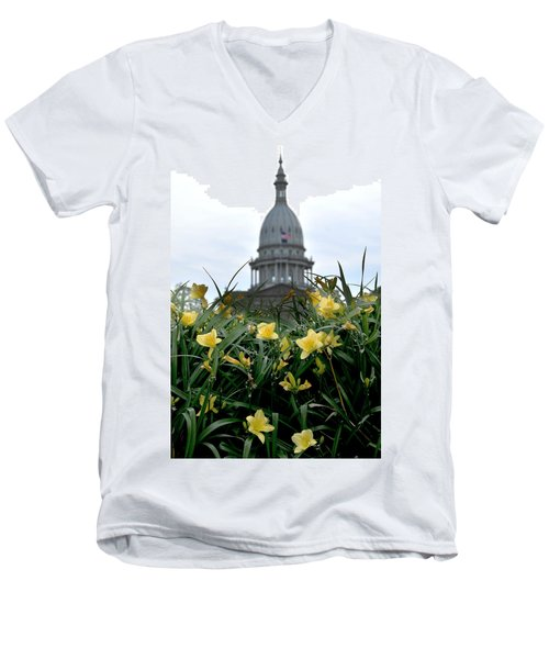 Dome Through The Daffodils Men's V-Neck T-Shirt