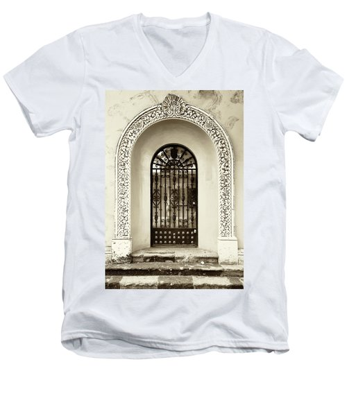 Door With Decorated Arch Men's V-Neck T-Shirt