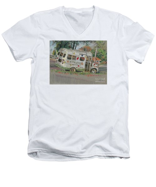 Men's V-Neck T-Shirt featuring the painting Doodlebugs Bus by Donald Maier