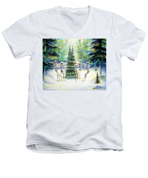 Men's V-Neck T-Shirt featuring the painting Dos Arbolitos by Heather Calderon