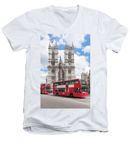 Double-decker Buses Passing Men's V-Neck T-Shirt by Panoramic Images