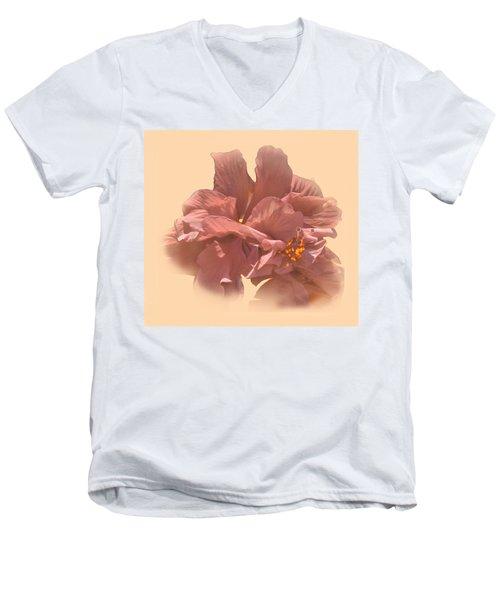 Double Hibiscus Portrait Men's V-Neck T-Shirt
