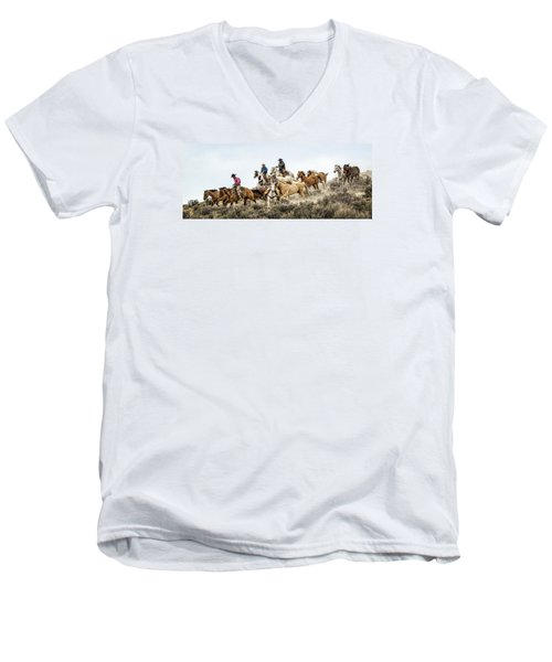 Men's V-Neck T-Shirt featuring the photograph Down The Hill by Joan Davis