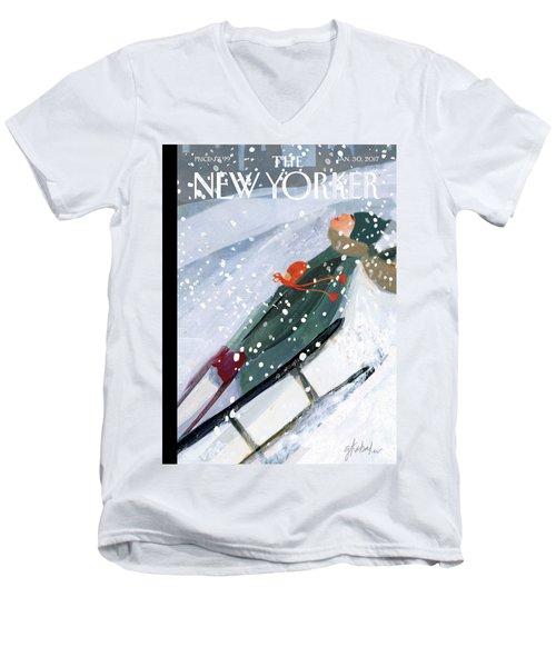 Downhill Racers Men's V-Neck T-Shirt