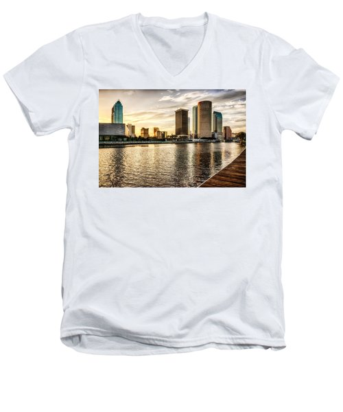 Downtown Tampa At Sunrise Men's V-Neck T-Shirt