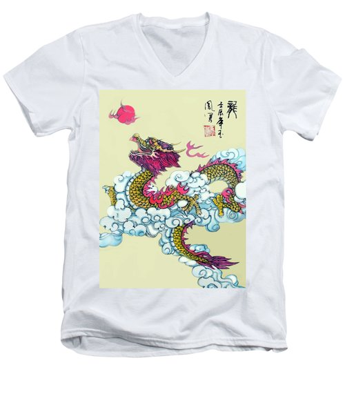 Men's V-Neck T-Shirt featuring the photograph Dragon by Yufeng Wang