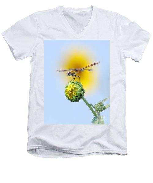 Dragonfly In Sunflowers Men's V-Neck T-Shirt