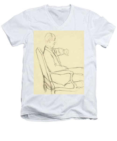 Drawing Of Man Looking At His Watch Men's V-Neck T-Shirt