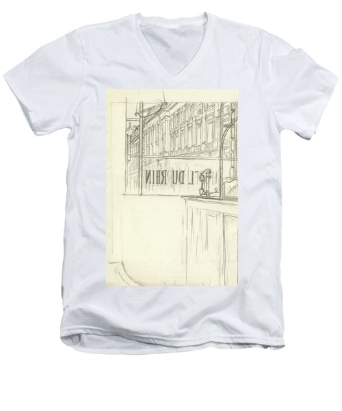 Drawing Of A Bar And Front Window Of Hotel Du Rhin Men's V-Neck T-Shirt