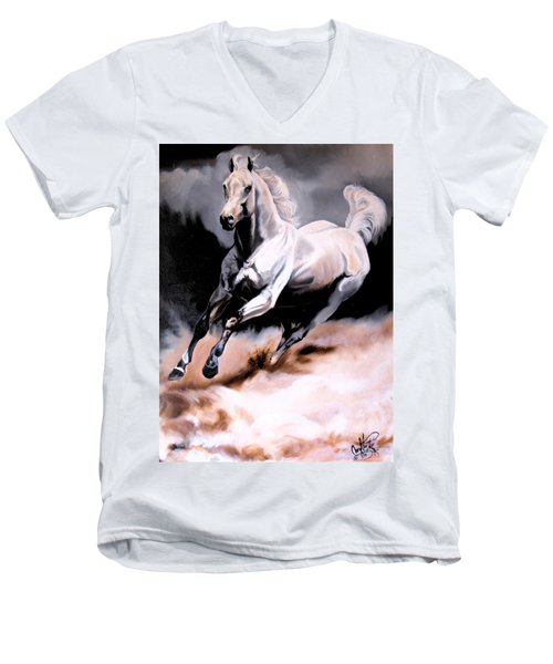 Dream Horse Series 20 - White Lighting Men's V-Neck T-Shirt by Cheryl Poland