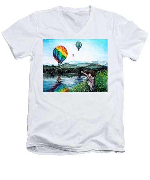 Men's V-Neck T-Shirt featuring the painting Dreams Do Come True by Shana Rowe Jackson