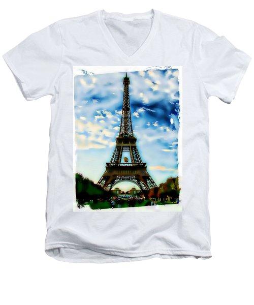 Dreamy Eiffel Tower Men's V-Neck T-Shirt by Kathy Churchman