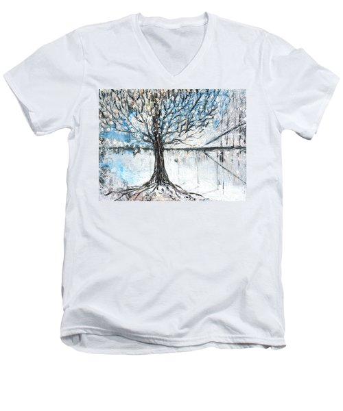 Men's V-Neck T-Shirt featuring the painting Dreamy Spring by Evelina Popilian
