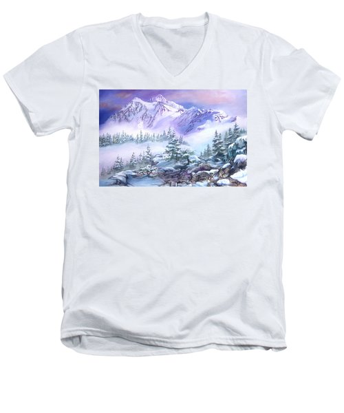 Men's V-Neck T-Shirt featuring the painting Dressed In White Mount Shuksan by Sherry Shipley