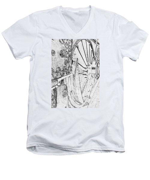 Drive Wheels Dm  Men's V-Neck T-Shirt by Daniel Thompson