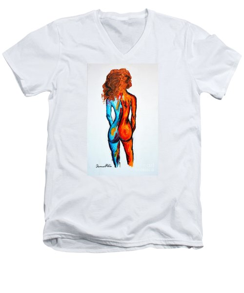 Men's V-Neck T-Shirt featuring the painting Duality by Ramona Matei