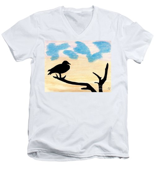 Men's V-Neck T-Shirt featuring the drawing Duck Sunset by D Hackett